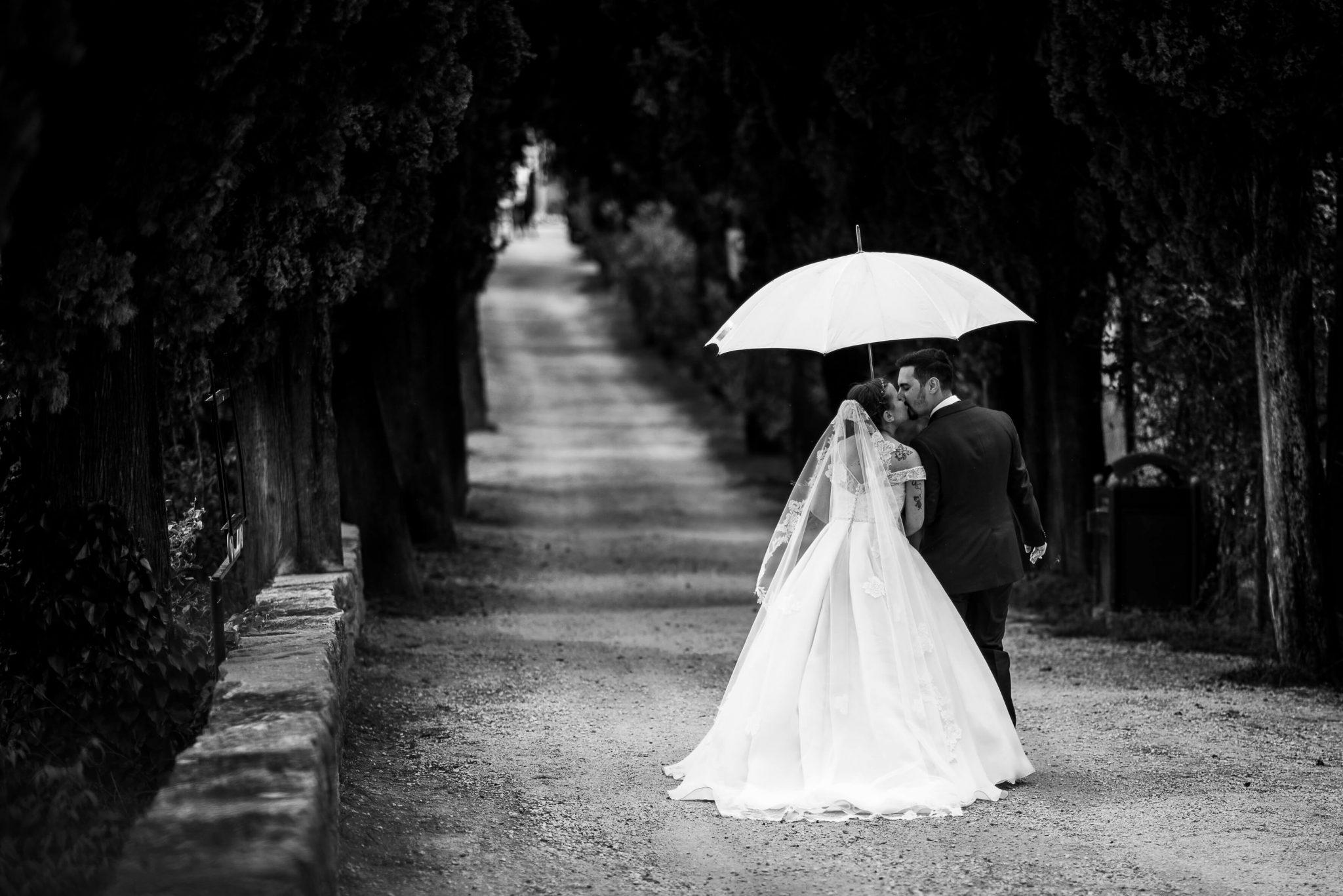 gli sposi si baciano sotto l'ombrello in un viale alberato